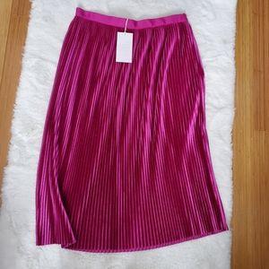 NWT Zara Fushia Velvet Pleated midi skirt sz L